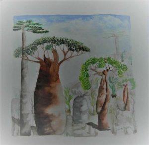 Julia-ArtMalala_Baobabs-Mélanges_Aquarelle-30X30