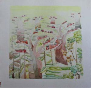 Julia-ArtMalala_Cases-par-dessus-les-baobabs_Aquarelle-30X30