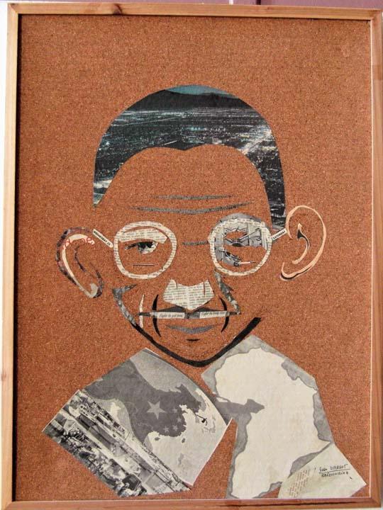 Mahatma-GANDHI_Découpage-journaux.30X40